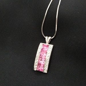 Jewelry - Pink and rhinestone pendant necklace